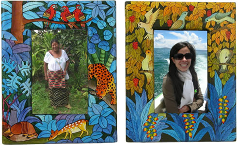 Rainforest painted wooden photograph frames for 4x6 inch photos.