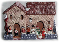 Ceramic Peruvian Nativity decoration for Christmas.