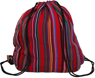 sling back backpack handmade by Mayan women.