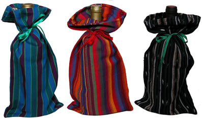 colorful Mayan cotton wine bags are a great gift.