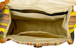 view of inside bag from top.