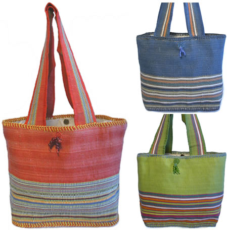 Jute and Cotton Round shoulder Bags from India.