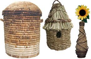 Woven products from Haiti such as bowls, bird roosting pouches, trays and hampers.