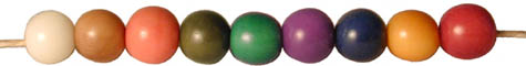 string of round tagua nut beads in 9 colors.
