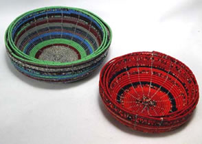 Beaded bowls shown nesting in sets of 3.