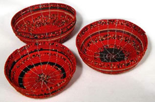 Red beaded bowls from Kenya.
