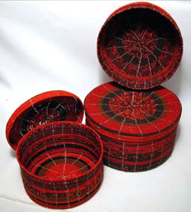 beaded boxes - shown in red - from Kenya, Africa.