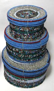 beaded boxes - shown in blue - from Kenya, Africa.