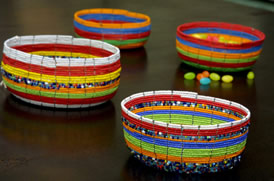 Beaded multicolor bowls.