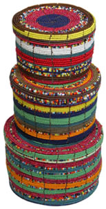 Multi-color beaded boxes from Kenya, Africa.