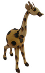 Bobble head gourd giraffe, crafted in Burkina Faso, Africa, by disabled men.