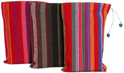 Guatemalan cotton bags for Yachana Gourmet natural Chocolate.