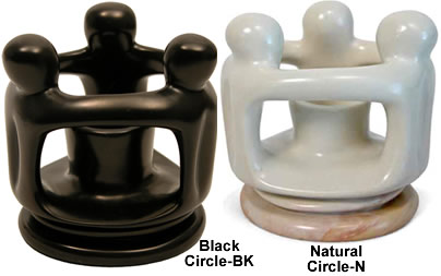 circle of friends soapstone candle holder in black or natural soapstone from Kenya