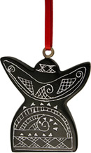 Angel Christmas tree ornament crafted from Coal in Colombia to keep kids out of coal mines.