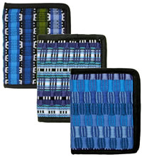 Blue cotton wallets from Guatemala.