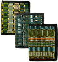 Green wallets handmade in Guatemala.
