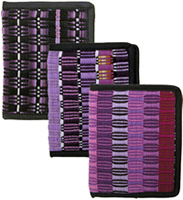 Purple wallets handmade in Guatemala.