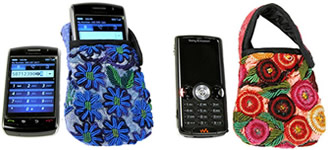 Cell phone bags from Guatemala, handmade by recycling huipils (women's blouses).