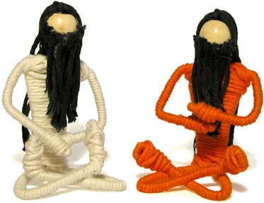 wire and cotton male swami and devotee - yoga positions.
