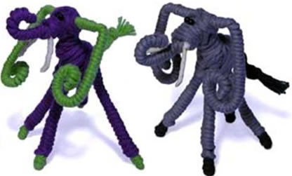 2 wire and cotton bendable elephants, crafted in Colombia.