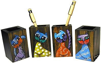 Pencil boxes decorated with cats from El Salvador.