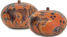 gourd box - decorated with a dolphin.