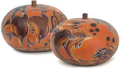 medium dolphin gourd box from Peru.