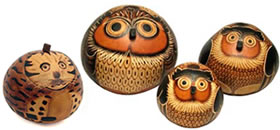 carved and pyrography gourds from Peru.