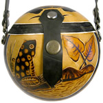 Frog decorated gourd purse from Peru.