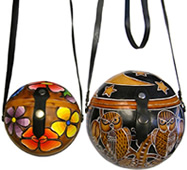 Gourd purses from Peru - decorated with bees, frogs, flowers, butterflies.