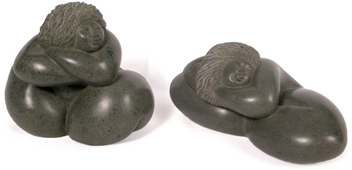 Soapstone carved ladies, handmade in Haiti.