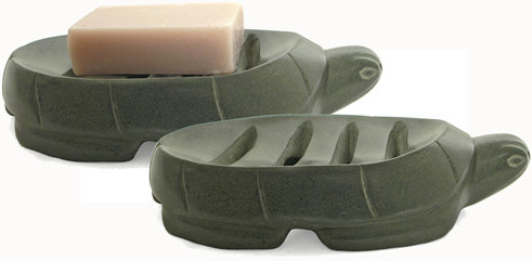From Haiti, carved soapstone turtle design soap dish.