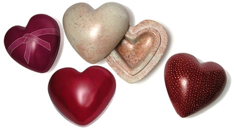 Soapstone heart boxes made in Kenya.
