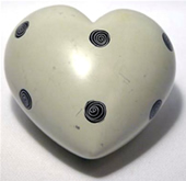 Black and White Soapstone Hearts - with Spirals.