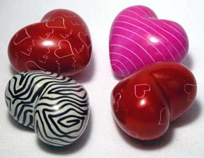 4 mini soapstone heart designs - hand carved and painted in Kenya, Africa.