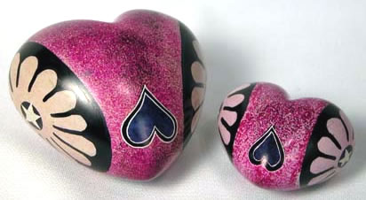 Large and Small pink soapstone hearts with teardrops from Kenya, Africa.