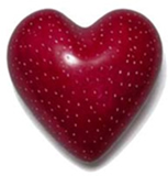 Red soapstone heart with speckles from Kenya, Africa.