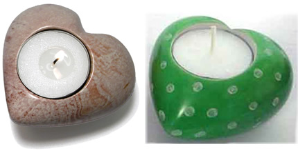 Soapstone heart-shaped tea light holders from Kenya.