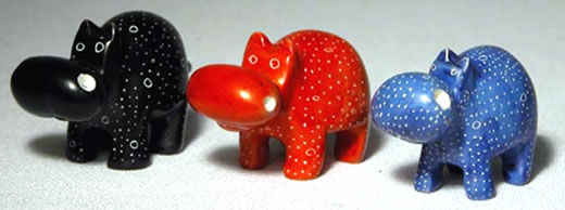 Soapstone Hippos available in 3 colors - from Kenya, Africa.