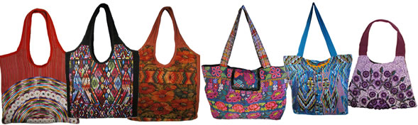 assorted huipil handbags / totes from Guatemala.