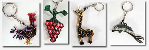 New keychains from Guatemala - glass beaded.