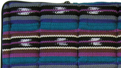 Closeup of the quilting on the Purple/Blue laptop computer sleeve.