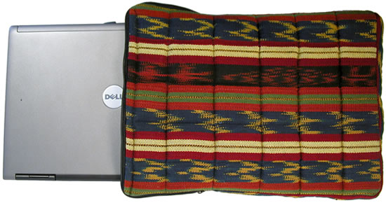 Laptop computer sleeve, handmade by Guatemalan women from handwoven cotton.