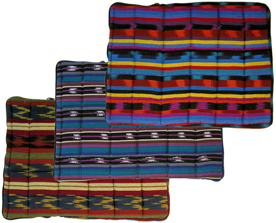 All 3 colors of the Guatemalan cotton laptop computer sleeves.