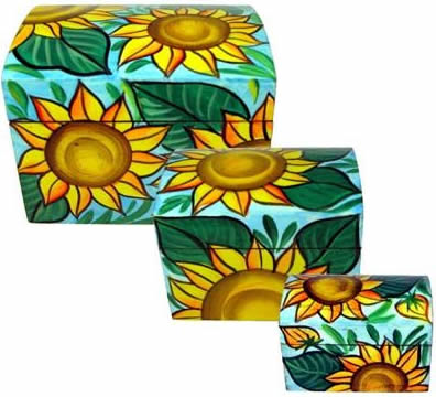 Sunflowers painted on wooden boxes from El Salvador - set of 3.