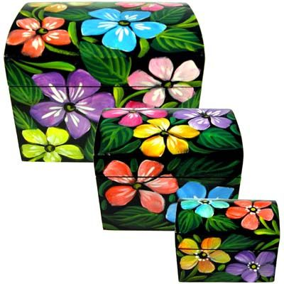 Bright flowers painted on wooden boxes from El Salvador - set of 3.