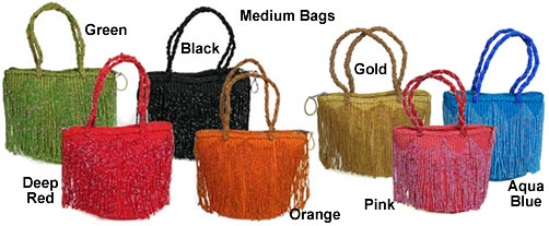Kenyan beaded bags with sisal and cotton - medium size.