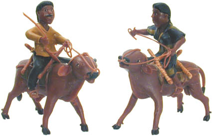 bull riders crafted from a renewable rainforest resource.