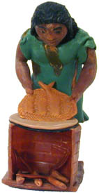 Woman Baking figurine, crafted from a renewable rainforest resource - Balata.