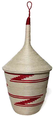 Sisal Basket - Natural with Red - woven in Rwanda, Africa.